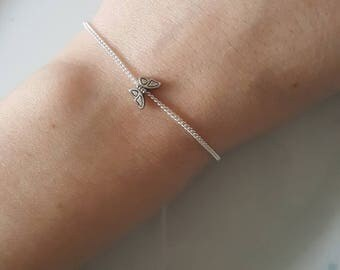 Cute Tiny Butterfly Charm Chain Silver Bracelet, Dainty, Pretty, Layer, Love, Simple, Minimalist, Gifts for her