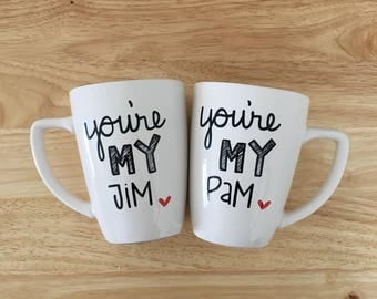 You're My Jim You're My Pam Mug Set. The Office Mug. The Office tv show Mug. Jim Pam Mugs.