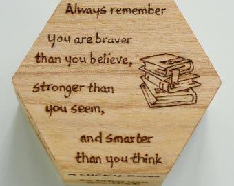 "Personalised wooden trinket box or keepsake box ""Little box of Wisdom"" - student gift, teacher gift, Winnie the Pooh"