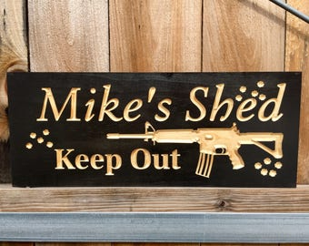 Personalized Carved Wooden Sign,  Gifts for Hunters, Established Sign, Man cave, home bar signs, Gun Sign, Wooden carved Plaque,  AR15