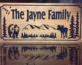Wooden Carved Cabin Sign, Alaska themed signs with Bear Mountains Moose Big Dipper and pine trees, free shipping,  benchmark signs and gifts