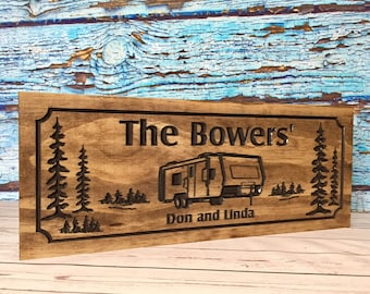 Custom RV Trailer Park Wooden Carved Signs Family Address Plaque humming bird Wooden Casita Wall Art Camp Benchmark Signs