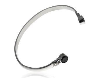 Black Crystal Bracelet, Cuff Bracelet, Adjustable Bracelet, 925 Silver Bracelet, Open Bangle Bracelet, Stackable Bracelets, Boho Bracelet