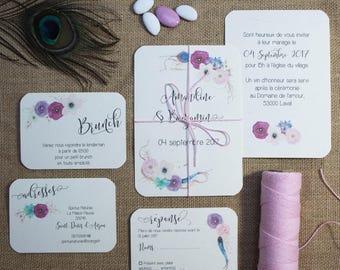 Wedding invitation - Boho flower