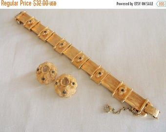 SALE Vintage BSK Blue Rhinestone Bright Brushed Gold Tone Link Bracelet Earrings Demi Parure Set Jewelry Gift