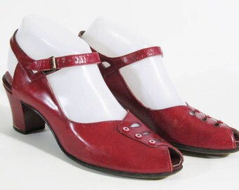 1940s vintage peep toe cuban heel red leather shoes Size 7 A to B