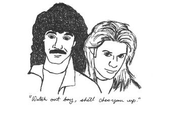 "Hall and Oates w/ ""Maneater"" quote Art Print"