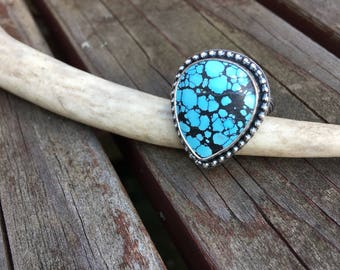 Sterling Silver Cloud Mountain Turquoise ring Size 8.5