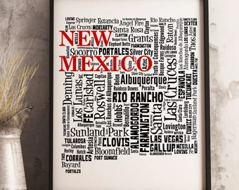 New Mexico Map Art, New Mexico Art Print, New Mexico City Map, New Mexico Typography Art, New Mexico Wall Decor, New Mexico Moving Gift