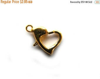 HALF PRICE 6 Gold Heart Lobster Clasps