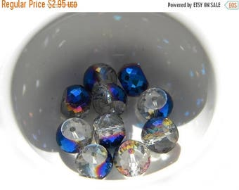 HALF PRICE 5 Blue Iridescent Faceted Glass Beads - 12x10mm