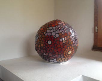 To order. Lamp ball mosaic glass, cabochons and beads.