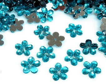 50 transparent turquoise blue Crystal flowers