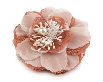 Coral rose fabric brooch or hair flower and Pearl