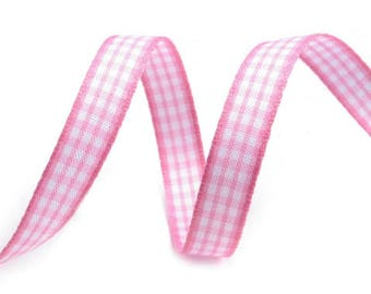 3 M cotton gingham Ribbon 10 mm pink