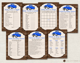 Vintage Truck Baby Shower Games - Truck Shower Games, Pick-Up Baby Shower Games, Boy Baby Shower Games, Pickup Shower Games, Printable, DIY