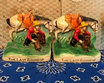 Vintage Western Cowboy Horse- Chalkware Bookends- The Last Roundup- Americana-Rancher- Colorful Chippy HTF-Red Orange Yellow Green Brown