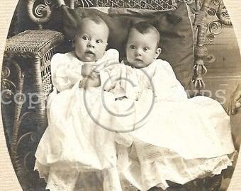 Vintage photo- Antique CDV photograph - Twins