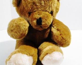 Vintage 1986 Plush Teddy Bear CC Brown Soft and Cuddly Stuffed Animal Kids Toy