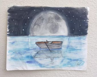 lone boat painting