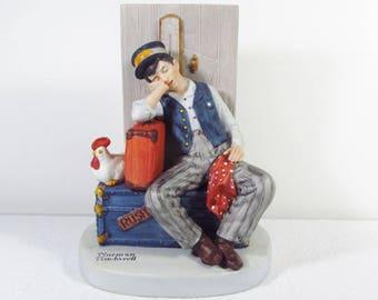 Vintage Danbury Mint Asleep on the Job Norman Rockwell figurine