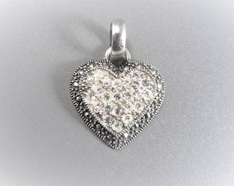 Vintage Sterling Rhinestone Marcasite Heart Pendant