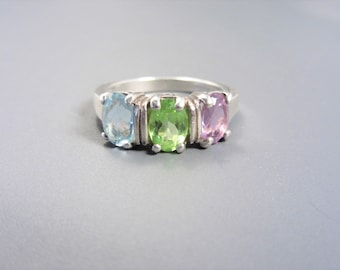 Vintage Sterling Topaz Peridot Amethyst Ring Size 8