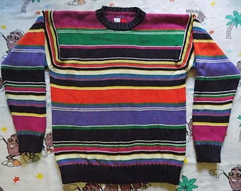 Vintage 90's Tommy Hilfiger colorful Striped Sweater, size M/L multi colored color block