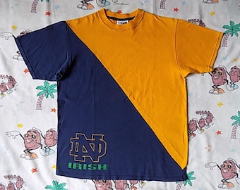 Vintage 90's Notre Dame two tone T shirt, size Large Fighting Irish color block