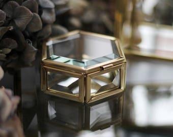 Hexagon small brass box, golden box, Ring bearer box, hexagon ring box, brass geometric ring box, brass box,