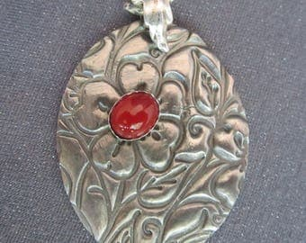 pendant necklace, metal pendant, flower necklace, large pendant, silver necklace, Carnelian pendant, gemstone pendant, metal clay pendant