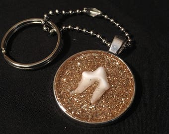 Gold Glitter Coyote Tooth Keychain