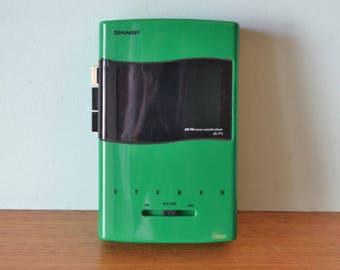 VRetro Green Sharp portable walkman radio