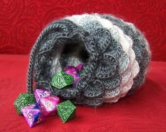 Black, Grey, and White Dragon Egg Dice Bag
