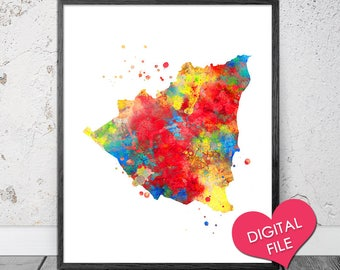 Nicaragua Etsy - Nicaragua map download