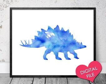 Blue Dinosaur Print, PRINTABLE Art, Stegosaurus Watercolor, Childrens Art, Children's Decor, Dinosaur Watercolor Art Print, Instant Download