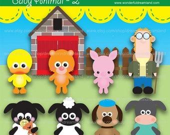 50% OFF Sheep Cat Duck Dog Pig Farmer - Instant Download Printable Clipart Clip Art Digital PDF PNG File