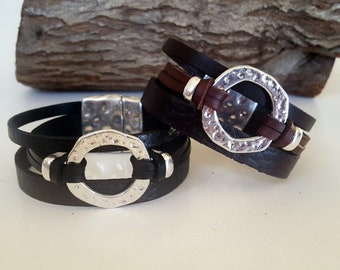 woman leather Bracelet, Ring, Boho Bracelet, leather cuff, beaded, Bracelet, Gypsy, magnetic clasp, myDemimore, woman, gift