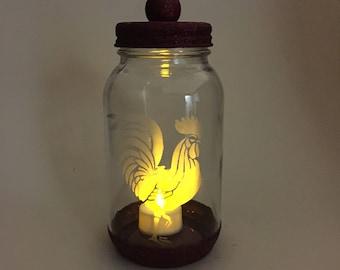 Mason Jars. Rooster and Chicken. Decorative Etched Glass Glitter Jar Flower Vase. Tea Light Candle Holder. Kitchen Utensil Storage Container