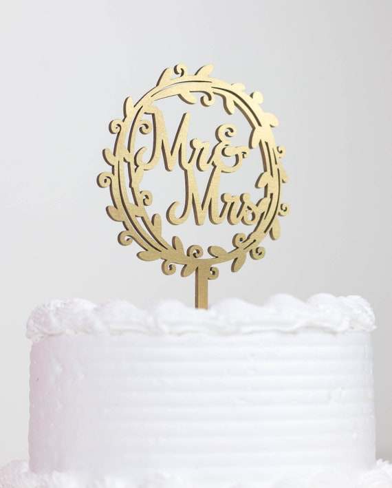 Mr and Mrs Cake Topper Monogram Wedding Cake Topper Rustic