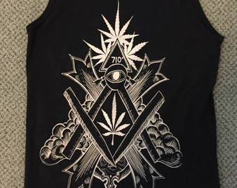 Exalted Seal of the Rollers Rite white on black tanktop