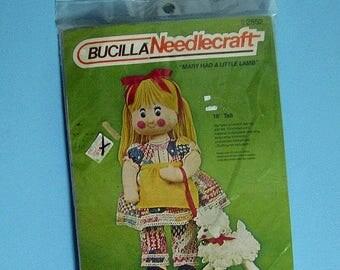 SALE 903) Bucilla NeedleCraft, Mary Had a Little Lamb, 18 inch Doll Kit, Vintage New Kit,needle kit 2852