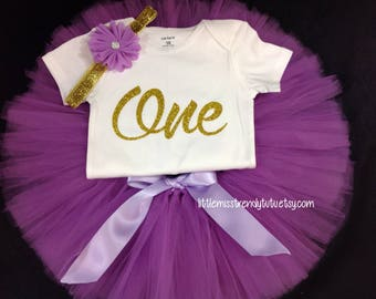 Girls Purple 1st Birthday Outfit, First Birthday Tutu Set, Orchid Birthday Tutu, Purple Birthday Shirt Tutu Set, Girls Birthday Outfit