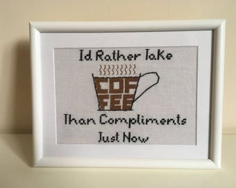 Louisa May Alcott - Little Women - Coffee Quote Sampler - Completed Cross Stitch