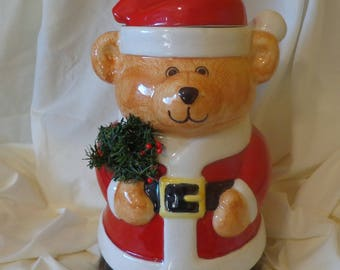 Cookie Jar ~  Little Brown Christmas Bear,  holding a Christmas wreath. HEAVY!