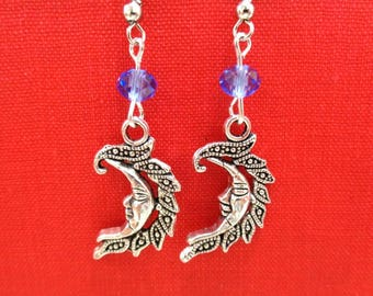 Silver Crescent Moon Earrings + Blue Crystal Beads, Silver Earrings, Blue Crystal Earrings, Celestial Earrings, Moon Jewelry, Gift for Her