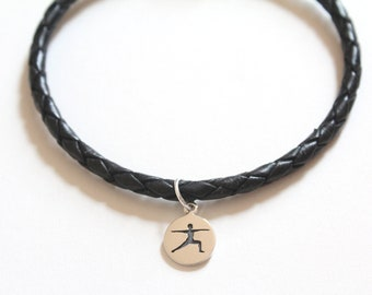 Leather Bracelet with Sterling Silver Warrior Yoga Pose Charm, Yoga Bracelet, Yoga Pose Bracelet, Yoga Charm Bracelet, Yoga Warrior Bracelet
