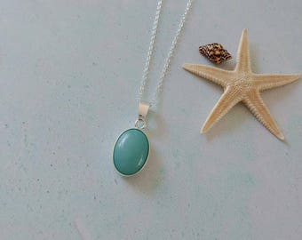 Amazonite Gemstone Sterling Silver Pendant Necklace