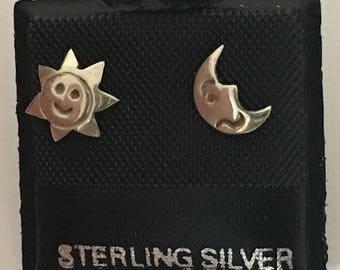 Little Sun & Crescent Moon Post Earrings 925 Sterling Silver  gw17-253