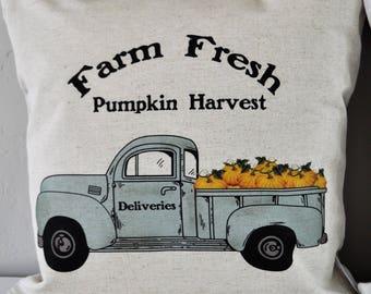 SALE, Pumpkin Harvest Pillow Cover, truck Pillow Cover, Fall pillow cover, 18x18